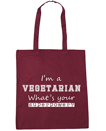 Burgundy 10 Gym Vegetarian x38cm I'm Bag HippoWarehouse Your Beach Superpower Tote A litres 42cm Shopping What's OZqHwSBg