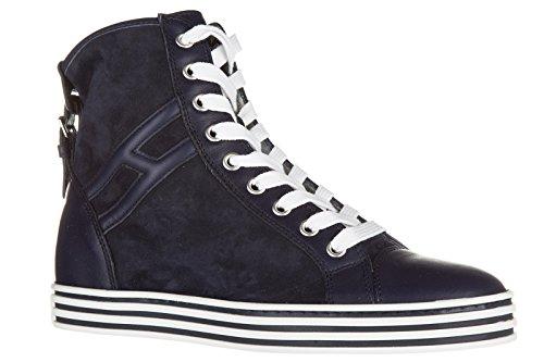 Hogan Rebel chaussures baskets sneakers hautes femme en daim rebel r182 polacco