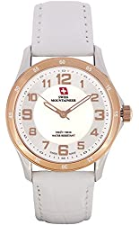 Swiss Mountaineer Ladies Watch White Leather Band Easy Read MOP Dial Reloj SML8050