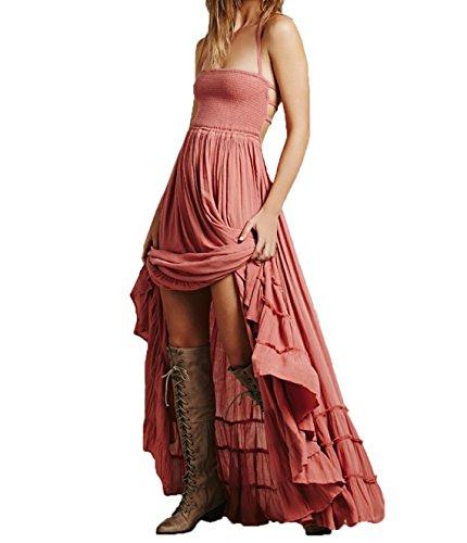 Femme t Robes de Plage Soire Fte Bohme Big Swing Maxi Robe Sexy Sans Manches Dos Nu Long Robes Rouge