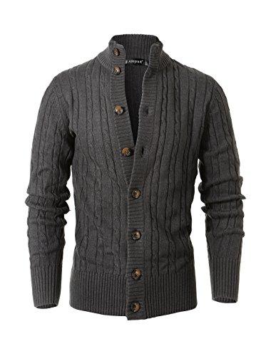 [해외]Allegra K Men 스탠드 칼라 롱 슬리브 케이블 니트 싱글 브레스트 가디건/Allegra K Men Stand Collar Long Sleeves Cable Knit Single Breasted Cardigan