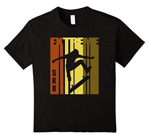 unisex-child Skateboarding T Shirt Skater Tee Skate Board Retro T-Shirt 6 Black