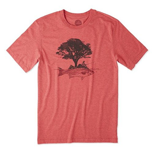 Life is Good Mens Cool Graphic T-Shirts Collection,Fish Tree,Americana Red,Medium