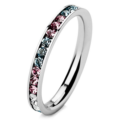 INBLUE Womens Stainless Eternity Wedding