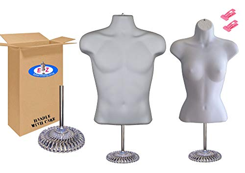 Male + Female Mannequin Torso Set, Dress Form Hollow Back Body Tshirt Display, w/Economic Plastic Stand for Counter by EZ-Mannequins, Temporal Photos or Design, Easy to Assemble and Store, S-M Sizes. ()