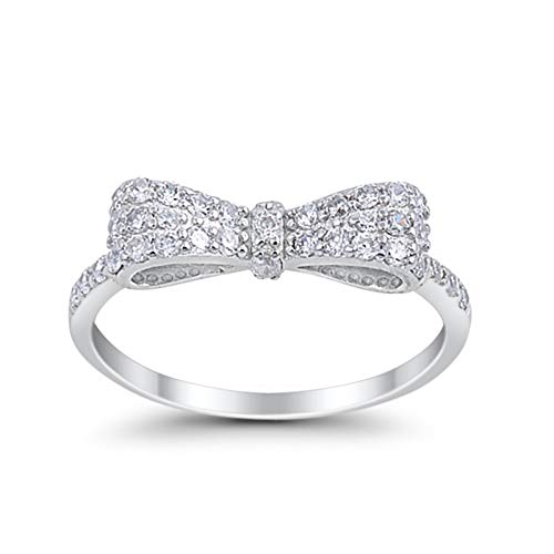(925 Sterling Silver Ribbon Bow Ring Cute Round pave Clear CZ Ring, Size-8)