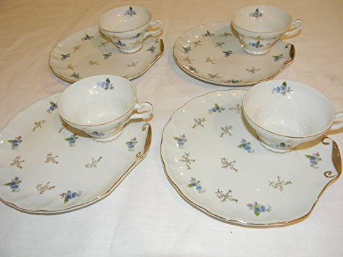 Bone China Shell Shaped Snack Hostess Plate and Cup Set of 4
