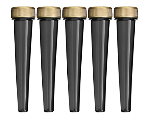 EZtube 5-Pack Joint Blunt Cigarette Tube Doob Vial Holder Waterproof Airtight Smell Proof Odor Sealing Container (Black) by EZtube