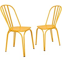 Adeco Contemporary Style Metal Stackable Hollow Back Chairs, Set of 2, Yellow