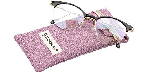SOOLALA Retro Stylish Clubmaster Eyeglasses Semi-rimless Cat Eye Reading Glasses, Black, - Clubmaster Eyeglasses Cheap