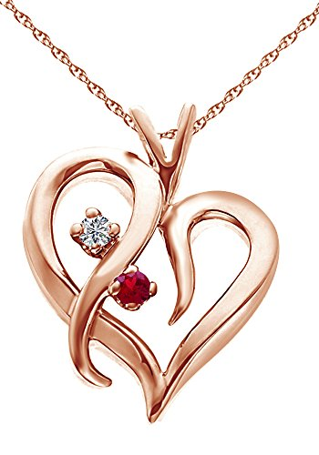 Round Shape Simulated Ruby & White Natural Diamond Tilted Heart Pendant In 14k Solid Rose Gold (0.1 Ct) Pink Rose Gold Ruby