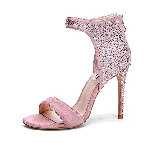 Elegante High Gran Tamaño Mujer Punta Moda 2018 Temperament Abierta Verano De GLTER Heel Rhinestone Sandalias Rosado Nuevo Rosa npBwqfxvZ
