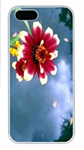 Hot iPhone 5S Customized Unique Print Design Red Flower 4 New Fashion PC White iPhone 5/5S Cases