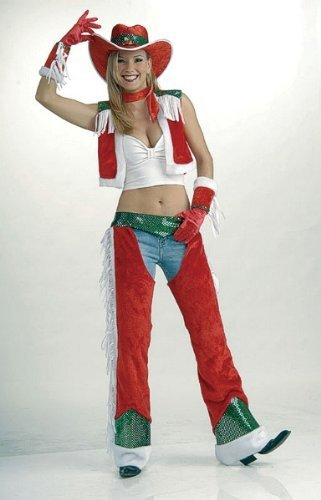 Bristol Novelty Red/White Christmas Cowgirl Adult Costume - Women's - One Size