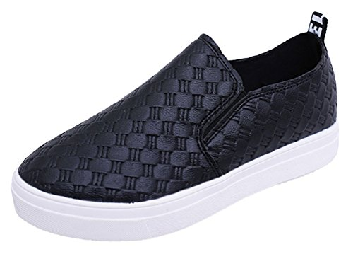 Passionow Women's Stylish Comfort Elastic Slip On Round Toe Plaid Vamp Casual Loafer Shoes (7 (Hello Sexy In Spanish)