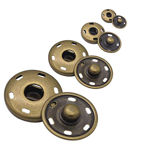 55 Sets Sew-on Snap Buttons Metal Snap Fastener Durable Press Studs Buttons for Sewing Clothing, 4 Sizes (Bronze)
