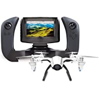 UDI RC U28-1 2.4GHz FPV Quadcopter with Wide-Angle 720p HD Camera, Altitude Hold Mode, Remote Controller with Color LCD Screen Included, Black/White