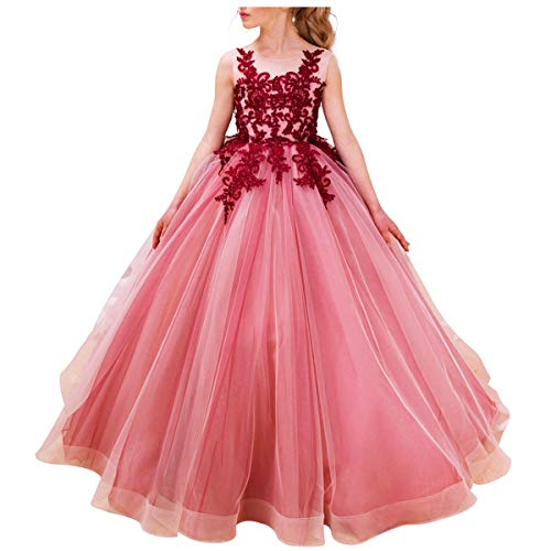 Luxury Burgundy Ball Gown Pageant Dresses for Girls Floor Length Flower Puffy Tulle Prom Wedding Birthday Party -