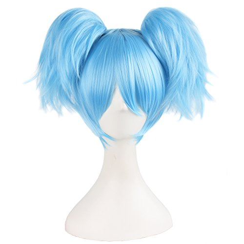 "MapofBeauty 12""/30cm Light Blue Three-piece Wig Short Wig Cosplay Wigs"