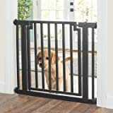 Libro Modern Dog Gate - Black - Expandable to 40'' - Indoor Pet Barrier, Walk Through Swinging Door, Extra Wide. Pressure Mounted, Walls,Stairs. Small/Large Dogs.Metal. Best Dog Gate. NMN Designs
