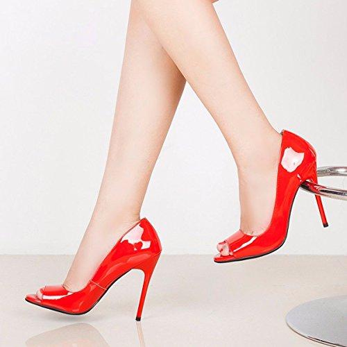 Zapatos Delgada KPHY Pies Pescado Zapatos Cm Profundas De 10 De Alto Poco Los Carrera De Tacones Charol De Tacón Verano Boca Mujer Zapatos gules Sexy Moda Sandalias De De Dedos Bocas wvrHvWXq
