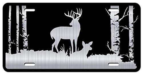 Buck Deer Hunting Forest Vanity Front License Plate Tag KCE319 (Hunting License Tag)