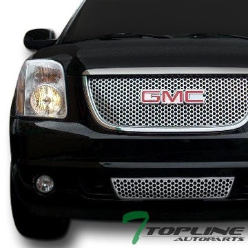 Chrome Rear Lower Cowl - Topline Autopart Chrome Round Hole Mesh Upper+Lower Front Bumper Grill Grille 07-12 Yukon Denali