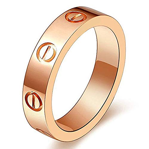 - SHIRIA Love Rings Lifetime Promise with Screw Design Best Gifts for Love with Valentine's Day Promise Engagement Wedding
