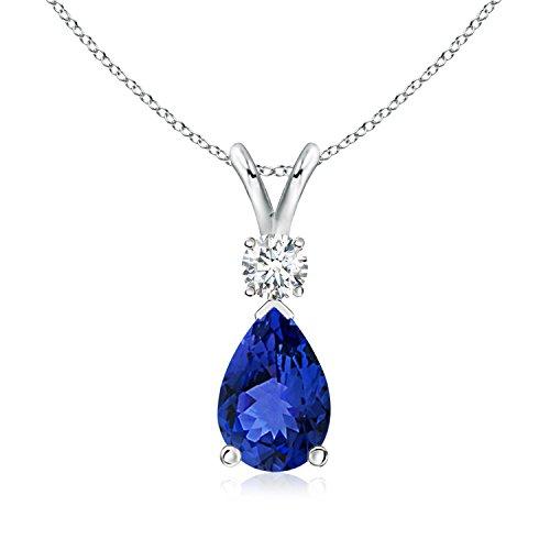 ANGARA 0.65 Carat Pear Tanzanite Teardrop Pendant Necklace Women Diamond in 14K White Gold (7x5mm Tanzanite)