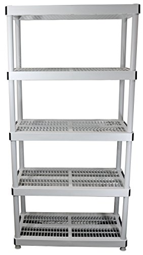 "HDX 36"" x 72"" 5-Tiered Ventilated Plastic Storage Shelving Unit w/ Raised Feet and Tool-Free Assembly by HDX (Image #1)"