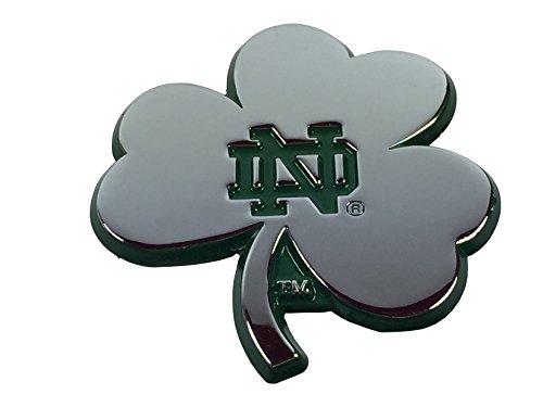 (Notre Dame Shamrock METAL Auto Emblem with Green Trim)