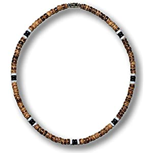 Native Treasure – Brown Tiger Coco Bead 2 Black 2 White Puka Shell Surfer Necklace