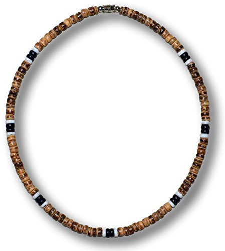 Native Treasure 17 inch Men's Brown Tiger Coco Bead 2 Black 2 White Puka Shell Surfer Necklace (Bead Coco Necklace Brown Shell)