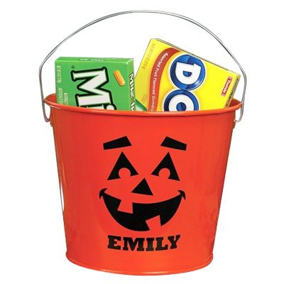 Personalized Orange Halloween Bucket -