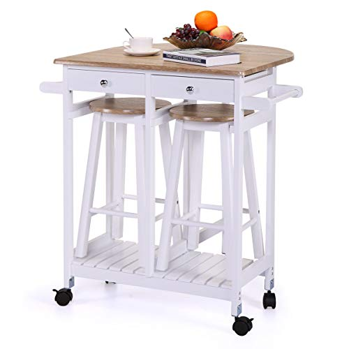 Eosphor in US Rolling Drop Leaf Kitchen Table Trolley Island Cart with 2 Bar Stools | Home Breakfast Table Set