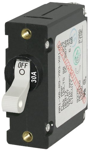 - Blue Sea Systems A-Series White Toggle Circuit Breaker - Single Pole, 30A