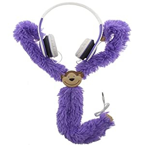 Kids Headphones With Adjustable Plush Monkey - Volume Limiting Children Headphones - Tangle Free, Lightweight And Foldable With 6ft Wire Purple Monkey Buds By 3B Global