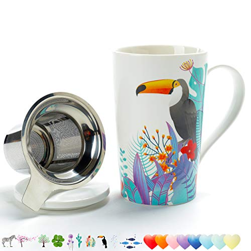 TEANAGOO M58-10 Tea Cup with Filter and Lid, 18 OZ, Toucan, Dom Dad Women Travel Teaware with Infuser, Mug Steeper Maker, Brewing Strainer Loose Leaf, Diffuser set for Lover Gift teacup porcelain (Tea 10 Strainer 18 Stainless)