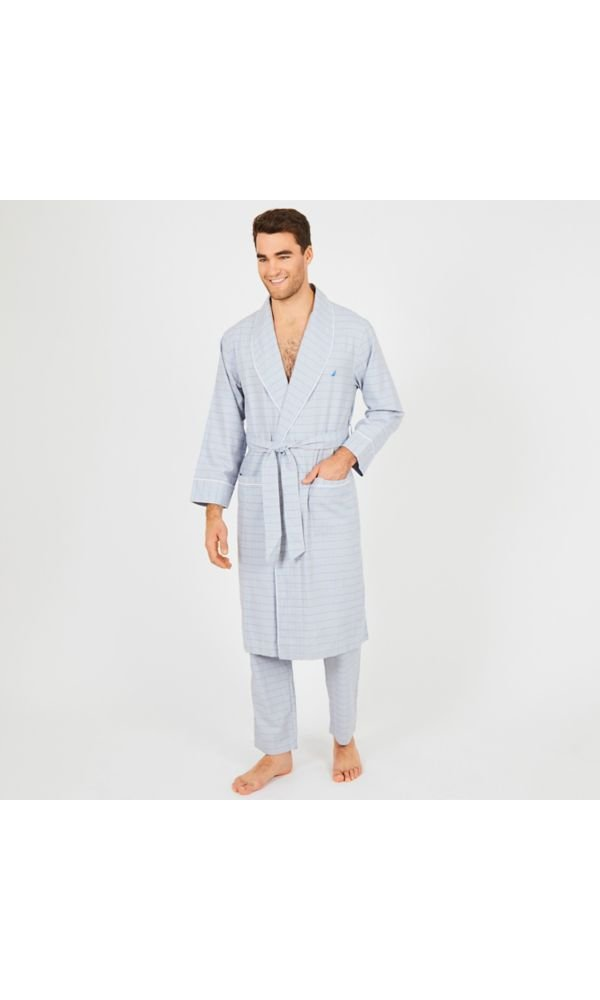 Nautica Men's Long Sleeve Lightweight Cotton Woven Robe, Grey, Large/X-Large