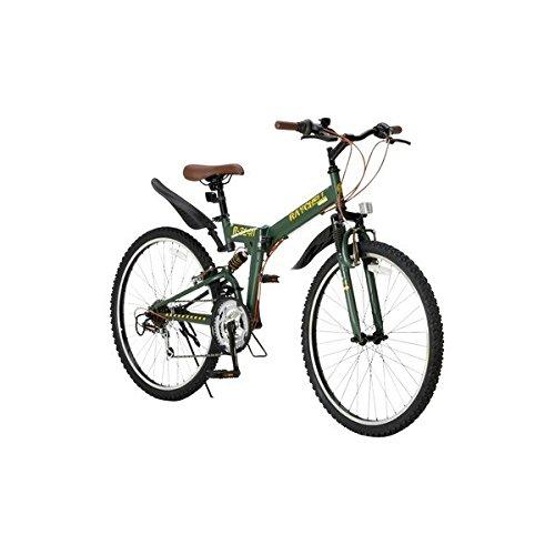 折りたたみ自転車 26インチ/オリーブ シマノ18段変速 ブロックタイヤ 【Raychell】 レイチェル R-314N B07D1D6D5M