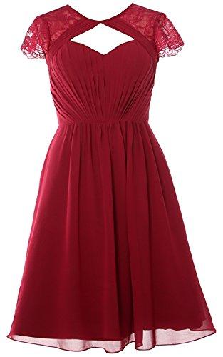Short Cap Formal Sleeves MACloth Bridesmaid Elegant Party Gown Wedding Dress Burgunderrot q5qtrnSxWT