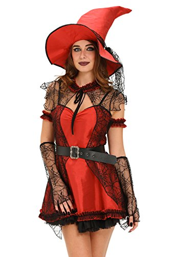 Women's Halloween Costume Adult 6pcs Mischievous Witch Cosplay Red Mini Dress Lace Spiderweb Cape New