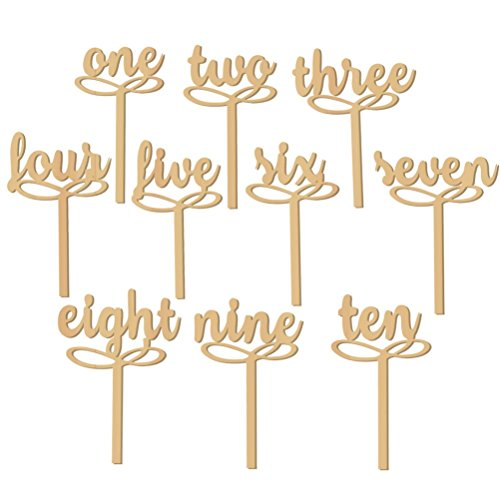 PIXNOR 1-10 Wooden Table Numbers on Sticks for Wedding Party Decoration Pack of 10 -