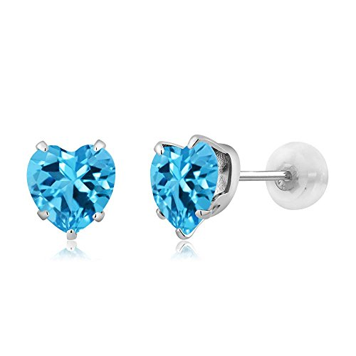 Gem Stone King 10K White Gold Swiss Blue Topaz Gemstone Birthstone Stud Earrings (1.90 cttw, 6MM Heart Shape)
