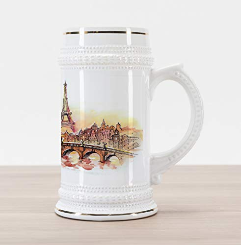 Orange Stein - Lunarable Eiffel Tower Beer Stein Mug, France Themed Design Urban Sunset in Paris Illustration Print, Traditional Style Decorative Printed Ceramic Large Beer Mug Stein, Yellow and Dark Orange