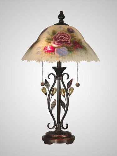 Dale Tiffany TT10449 Hand Painted Crystal Leaves Table Lamp, 23.5