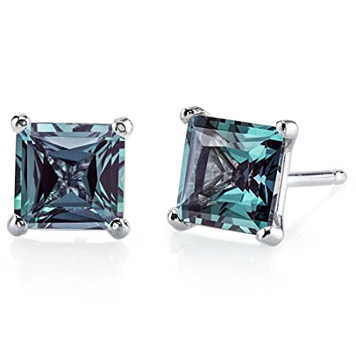 14 Karat White Gold Princess Cut 2.50 Carats Created Alexandrite Stud Earrings
