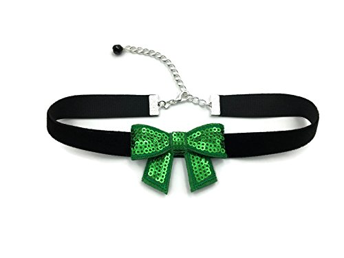 [Arthlin Green Bow Tie Choker Necklace for Women, Sequins and Velvet Band, Handmade in the USA] (Sexy Sequin Kitty Costumes)
