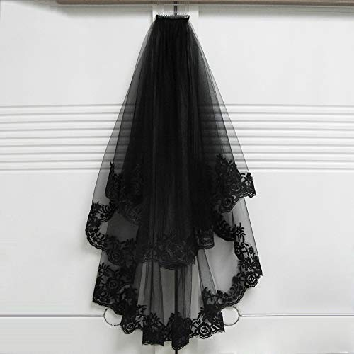 Black Wedding Veils With Comb Lace Two Layers Tulle Short Bridal Veil Accessories For Halloween Party Dress Black 75cm