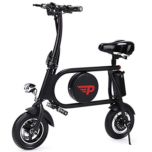 (Popsport Electric Bike 20 Mile Range Mini Electric Bike 15-21mph Folding Electric E-Bike 400W 36V with Lightweight Collapsible Frame (Black))